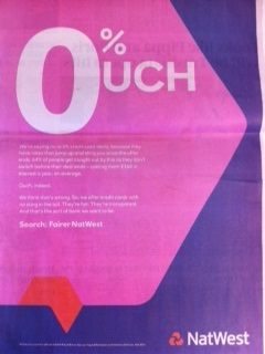 Ad watch – NatWest's 0%uch ad is dangerously misleading