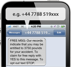 Spam texts example