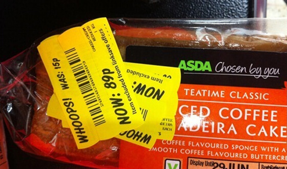 Asda Madeira cake reduced from 15p to 89p. Richard Brice.
