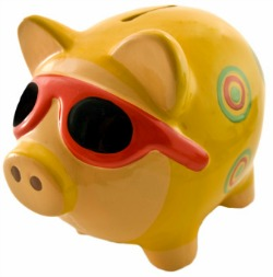 Picture of piggy bank in sunglasses