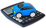 Toy car on calculator