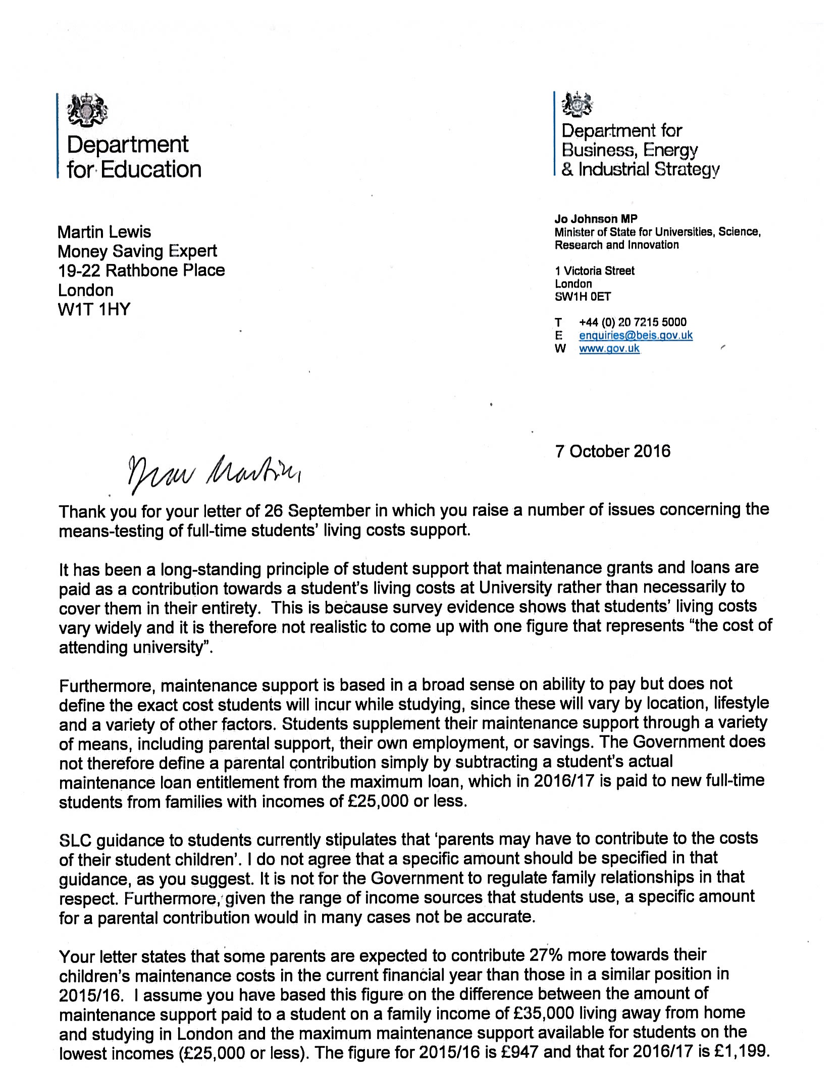 uni minister jo johnson says no to my letter asking please be here s jo johnson s letter in full ignore the date of it we only received it fairly recently