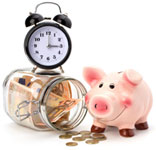 Money-jar, piggy and clock