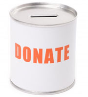 Tin with the words donate on it