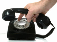 A rotary dial phone