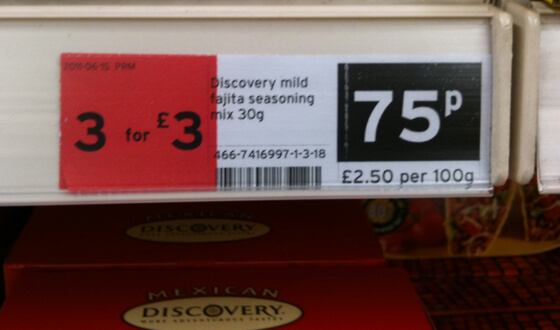 Sainsbury's fajita mix 75p or 3 for �3. Chris Martin.