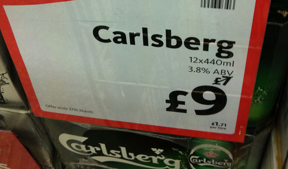 Morrisons Carlsberg was �7, now �9