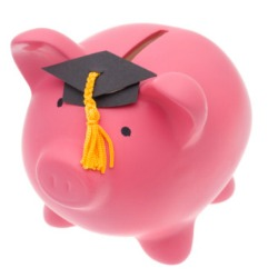 picture of piggybank with mortar board
