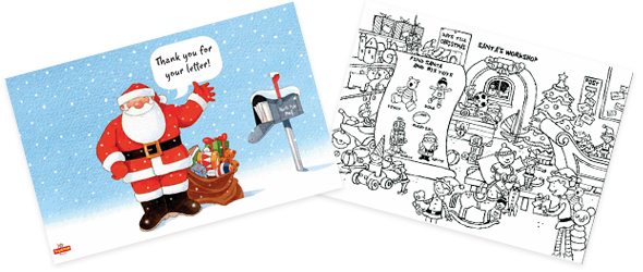 Christmas card and colouring sheet
